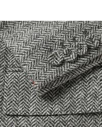 graues Wollsakko mit Fischgrätenmuster von Thom Browne