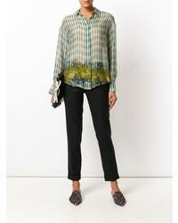 grüne bedruckte Bluse mit Knöpfen von Forte Forte
