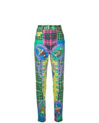 grüne bedruckte enge Jeans von Versace