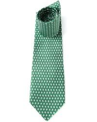 grüne bedruckte Krawatte von Salvatore Ferragamo