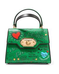 grüne bedruckte Shopper Tasche aus Leder von Dolce & Gabbana