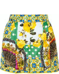 grüne bedruckte Shorts von Dolce & Gabbana