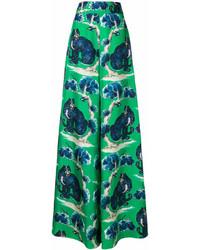 grüne bedruckte weite Hose von Gucci
