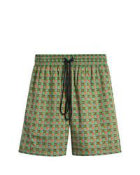 grüne Bermuda-Shorts aus Baumwolle mit Karomuster von Burberry