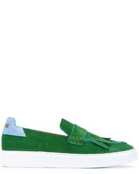 grüne Wildleder Slipper mit Fransen von MSGM