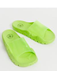 grüne Gummi flache Sandalen von Missguided
