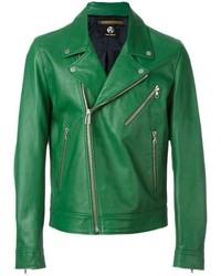 grüne Leder Bikerjacke