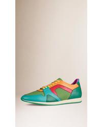 grüne Leder niedrige Sneakers