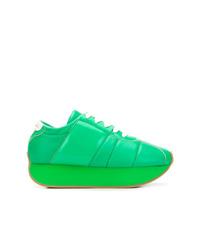 grüne Leder niedrige Sneakers von Marni