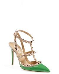 grüne Leder Pumps