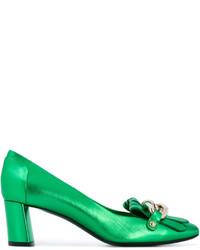 grüne Leder Pumps von Casadei