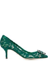 grüne Leder Pumps von Dolce & Gabbana