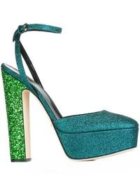 grüne Leder Pumps von Sergio Rossi