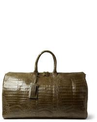 grüne Leder Reisetasche