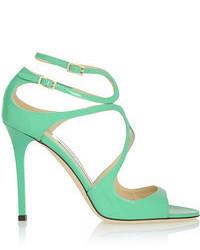 grüne Leder Sandaletten