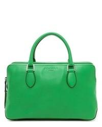 grüne Lederhandtasche