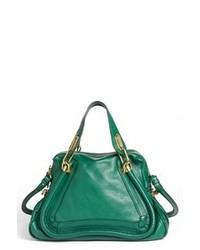 grüne Satchel-Tasche aus Leder