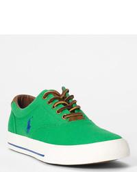 grüne Segeltuch niedrige Sneakers