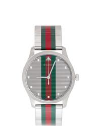 grüne und rote horizontal gestreifte Uhr von Gucci
