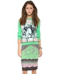 grüner bedruckter Pullover mit einem Rundhalsausschnitt von Emma Cook