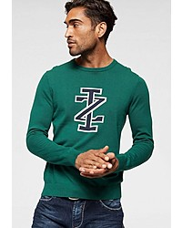 grüner bedruckter Pullover mit einem Rundhalsausschnitt von Izod
