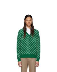 grüner bedruckter Pullover mit einem V-Ausschnitt von Gucci