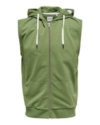 grüner Kurzarmpullover mit einem Kapuze von ONLY & SONS