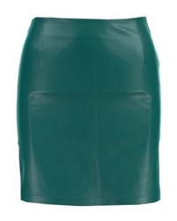 grüner Leder Bleistiftrock von Bik Bok