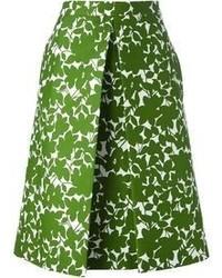 grüner Midirock mit Blumenmuster von Michael Kors