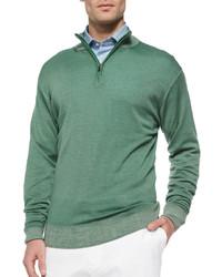 grüner Pullover mit einem Reißverschluss am Kragen
