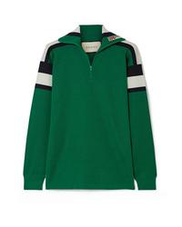 grüner Pullover mit einem Reißverschluss am Kragen von Gucci