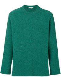 grüner Pullover mit einem Rundhalsausschnitt mit Reliefmuster von Stella McCartney