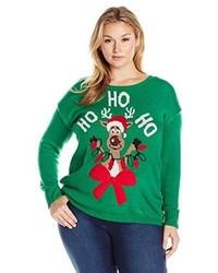 grüner Pullover mit einem Rundhalsausschnitt mit Weihnachten Muster