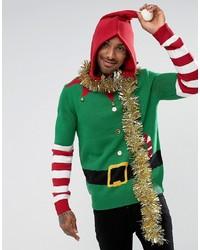 grüner Pullover mit einem Rundhalsausschnitt mit Weihnachten Muster von Threadbare