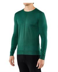 grüner Pullover mit einem Rundhalsausschnitt von Falke