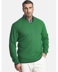 grüner Pullover mit einem V-Ausschnitt von Charles Colby