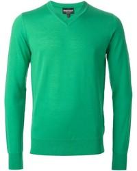 grüner Pullover mit einem V-Ausschnitt von Emporio Armani