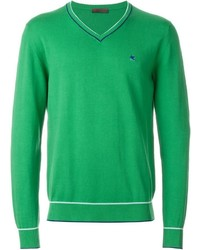 grüner Pullover mit einem V-Ausschnitt von Etro