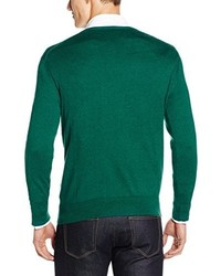 grüner Pullover mit einem V-Ausschnitt von Hackett Clothing