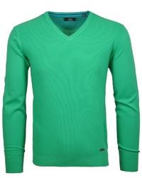 grüner Pullover mit einem V-Ausschnitt von RAGMAN
