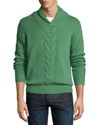 grüner Strick Pullover mit einem Schalkragen