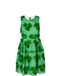 grünes ausgestelltes Kleid mit Blumenmuster von P.A.R.O.S.H.