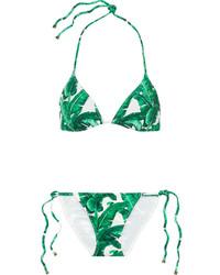 grünes bedrucktes Bikinioberteil von Dolce & Gabbana