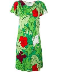 grünes bedrucktes gerade geschnittenes Kleid von Moschino