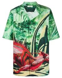 grünes bedrucktes Kurzarmhemd von Valentino