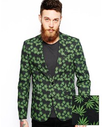 grünes bedrucktes Sakko