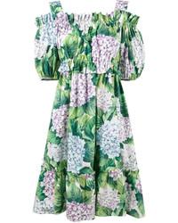 grünes bedrucktes schulterfreies Kleid von Dolce & Gabbana