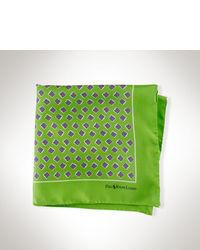 grünes bedrucktes Seide Einstecktuch