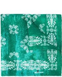 grünes bedrucktes Seide Einstecktuch von Kiton