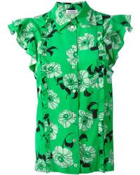 grünes bedrucktes Seidehemd von P.A.R.O.S.H.